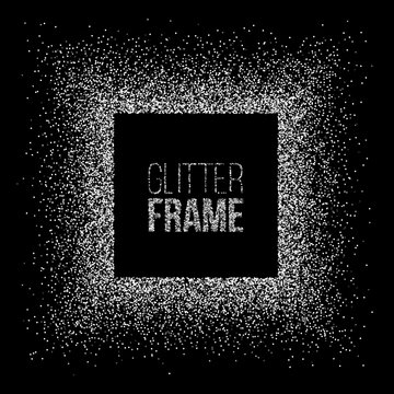 Vector silver glitter frame. Square frame made of silver glitter isolated on black background.