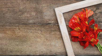White Frame Orange Alstromeria Bouquet Flower Copmosition Arrangement Rustic Wooden Background