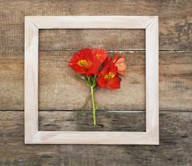 Square White Frame Orange Alstromeria Bouquet Flower Copmosition Arrangement Rustic Wooden Background