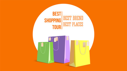 Best shopping tour, horizontal poster with paper bags and label from new purchased items on orange backdrop. Template with yellow, green and violet paper bags for shopping. Vector 3D illustration