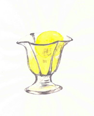 Drawing with watercolor paints: a glass crock with yellow ice cream.