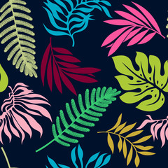colorful summer tropical leaves seamless pattern