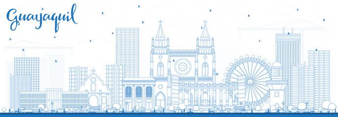 Outline Guayaquil Ecuador City Skyline with Blue Buildings.