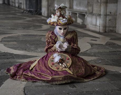 Venice, Italy - circa February 2017: Costumes in Venice