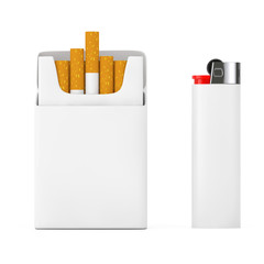 White Pocket Lighter near Mockup Blank Cigarettes Pack. 3d Rendering