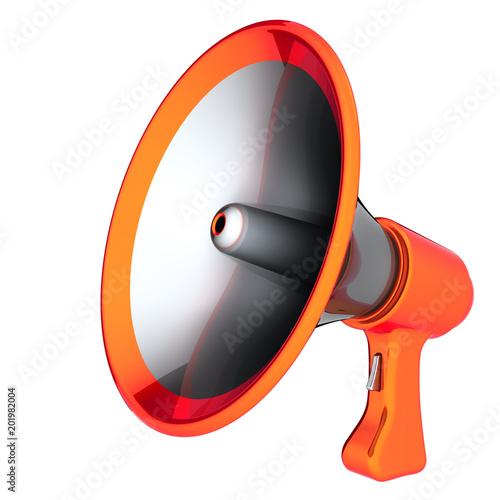 Megaphone news blog loudspeaker communication bullhorn orange megaphone news blog loudspeaker communication bullhorn orange message concept icon 3d illustration publicscrutiny Gallery