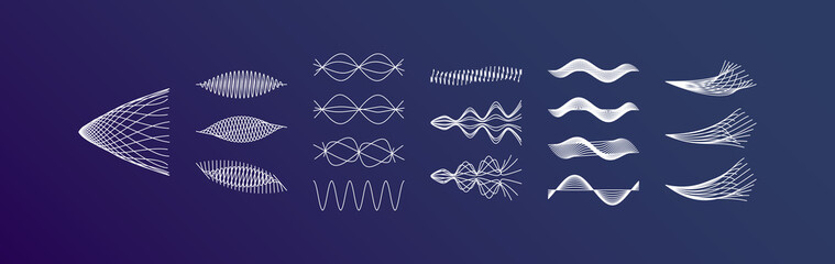 Sound waves set. Dynamic effect. Vector illustration.