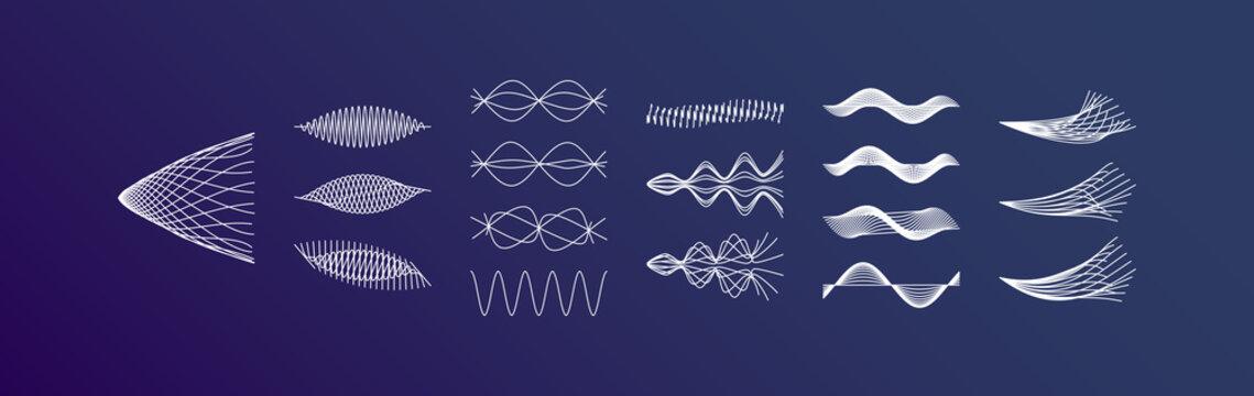 Sound waves set. Dynamic effect. Vector illustration.