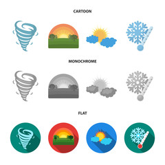 Tornado, sunrise, cloudiness, snow and frost. The weather set collection icons in cartoon,flat,monochrome style vector symbol stock illustration web.
