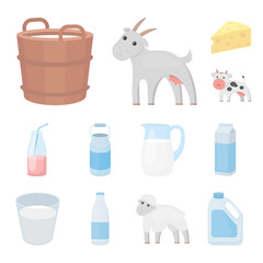 Milk product cartoon icons in set collection for design.Milk and food vector symbol stock web illustration.