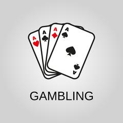 Gambling icon. Gambling symbol. Flat design. Stock - Vector illustration