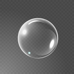 Big transparent glass sphere with glares and shadow. Realistic Soap bubble. Transparency only in vector file