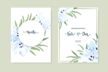Floral set with hibiscus and eucalyptus. Wedding Invitation, save the date, rsvp, invite card. Vector illustration. Celebration template. watercolor style
