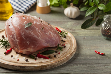 Raw whole ham.