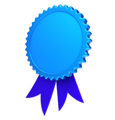 Ribbon rosette award blank reward medal blue. Achievement best badge winner template design element empty. 3d illustration isolated