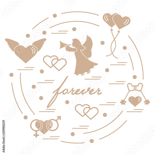 Cute Vector Illustration With Different Love Symbols Hearts Air