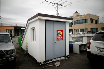 A town shelter is seen in the Tae Sung freedom village near the Military Demarcation Line (MDL), in Paju