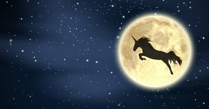 Unicorn silhouette flying over moon in night stars