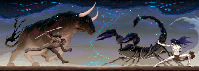 Zodiacal battle between Taurus and Scorpio