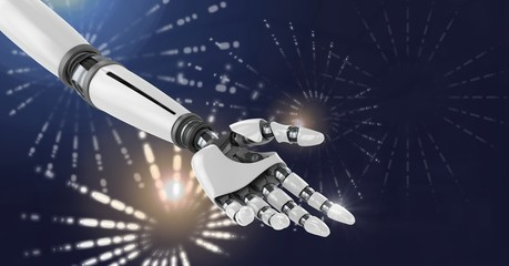 Robot android hand with Glowing firework circle shapes