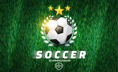 Soccer Ball. Football Game Label on Green Grass Field with Line Texture.