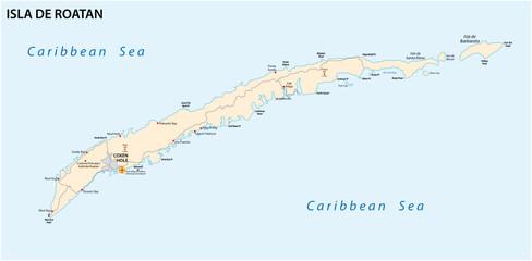 roatan island road vector map, honduras