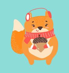 Happy Squirrel with Acorn Icon Vector Illustration