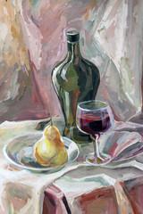 still life gouache color painting the bottle, glass