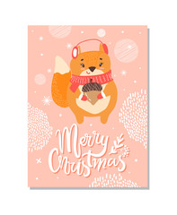 Merry Christmas with Title Vector Illustration