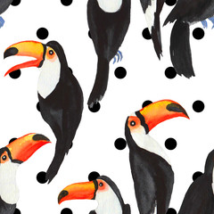 Watercolor toucans seamless pattern