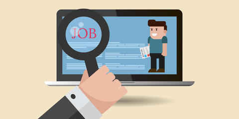 Job search technology  flat concept for your design eps 10