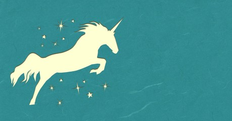 Paper cut unicorn and stars with empty space
