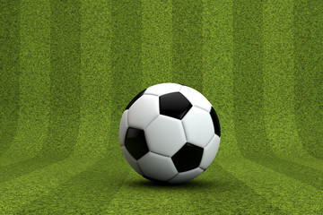 Striped green grass background with a soccer ball. 3D Rendering