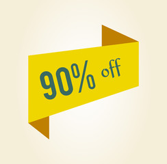 90 off Discount Clearance Tag Vector Illustration
