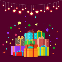 Christmas Gifts Festive Boxes Vector Illustration
