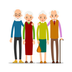 Couple older people. Two aged people stand. Elderly man and woman stand together and hug each other. Illustration isolated on white background in flat style
