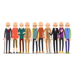 Old man. Older man character in various poses. Man in suit, shirt and tie. Set cartoon illustration isolated on white background in flat style