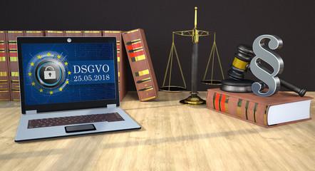 DSGVO Notebook auf einem Holztisch in einer Anwaltskanzlei mit Justizwaage, Gesetzbüchern, Richterhammer und Paragrafen