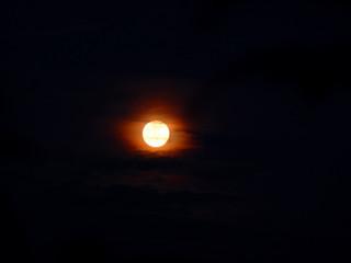 Vollmond mit Lichthof Ein Vollmond mit rötlich schimmerndem Lichthof steht am schwarzen Nachthimmel.