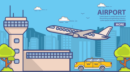 Urban city skyline landscape. Building facade terminal airport. Yellow taxi car cab. Towers skyscrapers.Flying jet passenger plane of airlines. Trees and bushes.Flat line art vector.