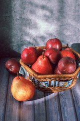 plums, pears, fruit, Duo, morning, still life, red, blue