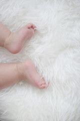 baby feet on white blanket. copy space. selective focus