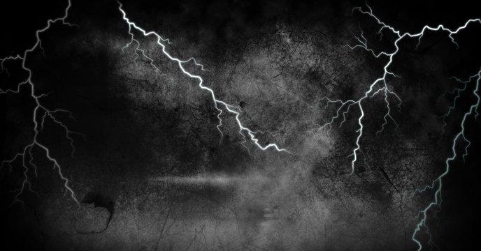 Lightning strikes and dark background