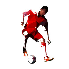 Soccer player in red jersey kicking ball, colorful polygonal vector illustration