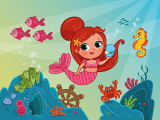Vector Illustration of Little Mermaid Under the Sea.