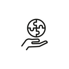 Round puzzle on human hand line icon