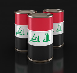 Oil barrel with flag of Iraq. Image with clipping path
