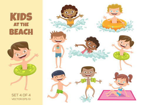 Collection of kids playing at the beach. Cartoon characters isolated on white. Funny boys and girls swimming, running, jumping, sunbathing and eating an ice cream. Set 4 of 4.