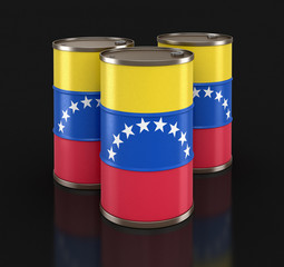 Oil barrel with flag of Venezuela. Image with clipping path