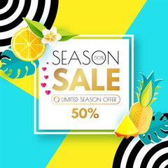Summer Sale Layout Design Template. Paper Art. Season Offer Banner with Square Banner, Citrus, Hearts, Pineapple, Plumeria, Monstera Leaves, Heart and Decorative Circles on Colorful Background.